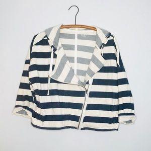 LOFT Striped Swing Terrycloth Quarter Sweatshirt